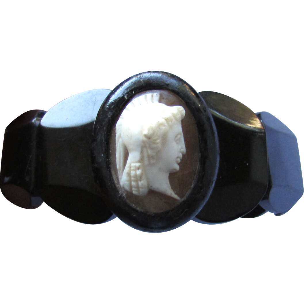 Antique Victorian Whitby Black Jet Shell Cameo Bracelet