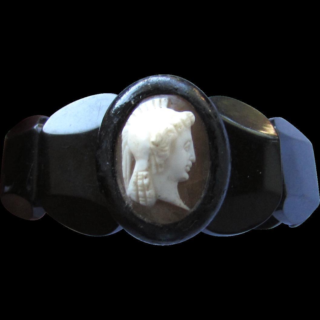 Antique Victorian Whitby Black Jet Shell Cameo Bracelet