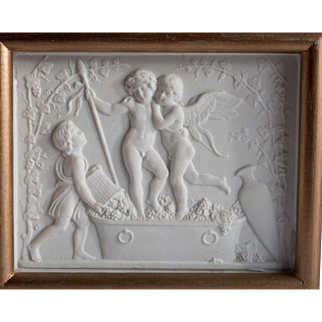 Framed Antique Bing & Grondahl Parian Bisque Royal Copenhagen Plaque Baby Dionysus Cupid Cherubs Putti