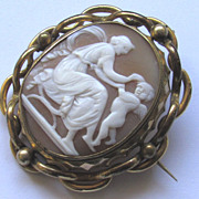 Antique Victorian Carved Shell Cameo Locket Brooch Cupid Eros