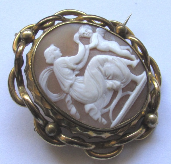 Shell cameo locket brooch cupid eros from waterside dream on ruby lane