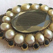 Antique Georgian 15K Yellow Gold Jet Pearl Hair Mourning Brooch