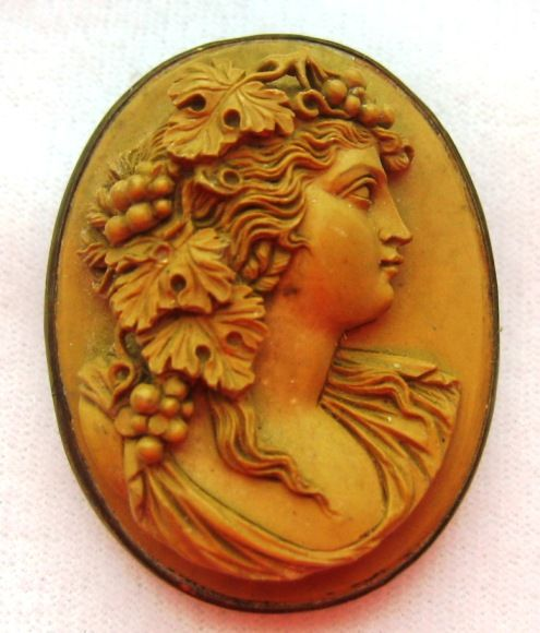 Antique Victorian Lava High Relief Cameo Brooch Bacchante Maiden