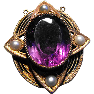 Antique Victorian 18K Rose Gold Amethyst Half Pearl Black Enamel Pendant Brooch
