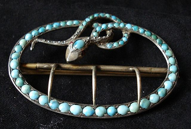 Antique Victorian Silver Snake Sash Buckle Persian Turquoise