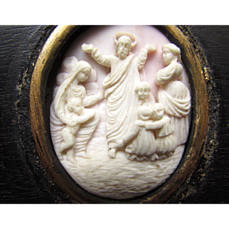 Antique Hand Carved Pink Conch Shell Cameo Framed Wall Hanging Decoration