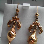 Antique Victorian 9K Rose Gold Long Dangle Puffy Earrings