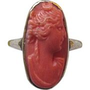 Vintage 10K Yellow Gold Carved Coral Cameo Ring Diana