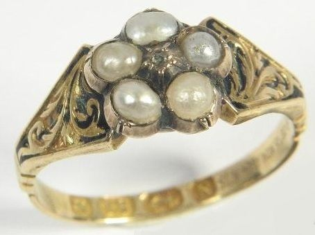Antique Victorian 18K Gold Pearl Diamond Mourning Ring 1862