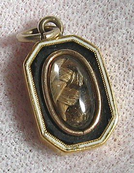 Georgian 18K Gold Black White Enamel Hair Mourning Pendant Charm 1811