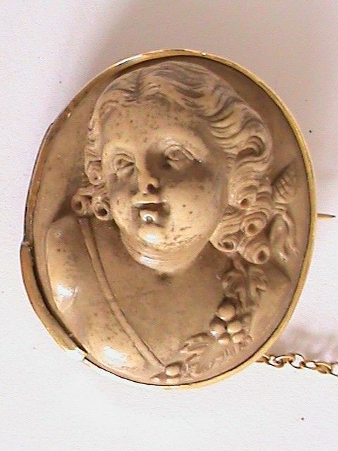 Rare Antique Hand Carved Lava Brooch Baby Bacchante Cherub Brooch