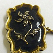 Antique Georgian Gold Black Enamel Rose Cut Diamond ForgetMeNot Mourning Brooch