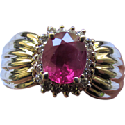 Estate 14K Yellow Gold Diamond Ruby Ring