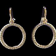 Vintage 14k Yellow Gold White Gold Diamond Circle Earrings