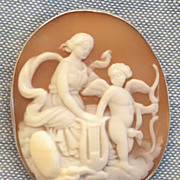 Victorian Hand Carved Shell Cameo Education of Eros Silver Pendant Pin