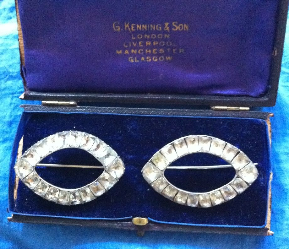 Antique Georgian Silver Paste Buckle Brooch Pair Boxed