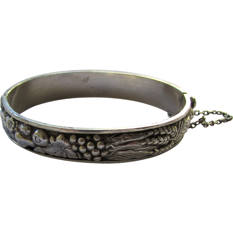 Vintage European Sterling Silver Fruits and Corps Bangle Bracelet