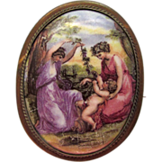 Antique Victorian Porcelain Brooch The Nursing of Bacchus Maiden and Baby