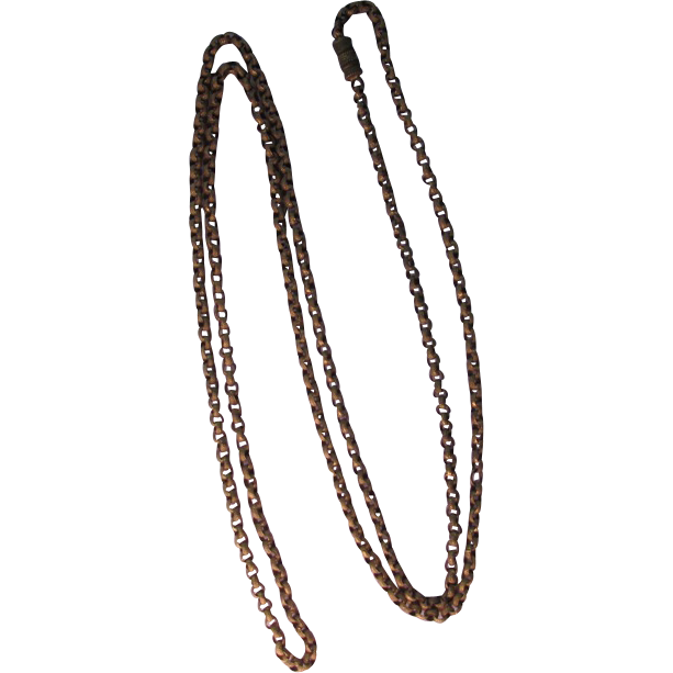 Antique Georgian Pinchbeck Longuard Muff Chain Necklace 46 inches
