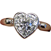 Estate 14K White Gold Diamond Heart Ring