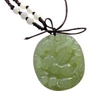Vintage Light Green Carved Jade Flying Horse Pendant