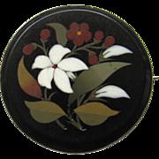 Antique Silver Micro Mosaic Petra Dura Brooch Pin