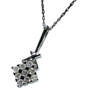 Estate10K White Gold Diamond Chessboard Pendant Chain Necklace
