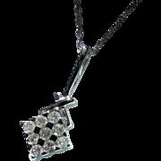 Estate10K White Gold Diamond Chessboard Pendant Chain Necklace