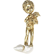Vintage 14K Yellow Gold Sapphire Ruser Cherub with Puppy Brooch