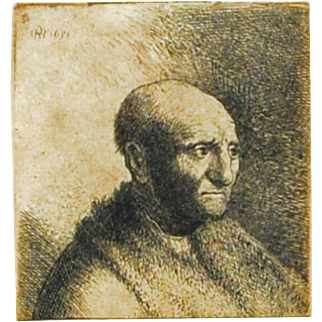 Rembrandt Etching of Bald Man, Signed & Dated 1631