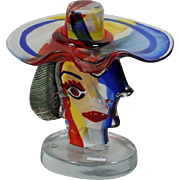 Modern Glass Sculpture by Walter Furlan, Homage to Picasso