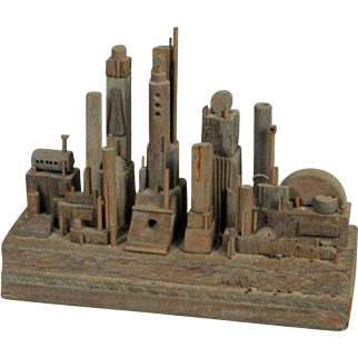 Futuristic City Sculpture in Driftwood