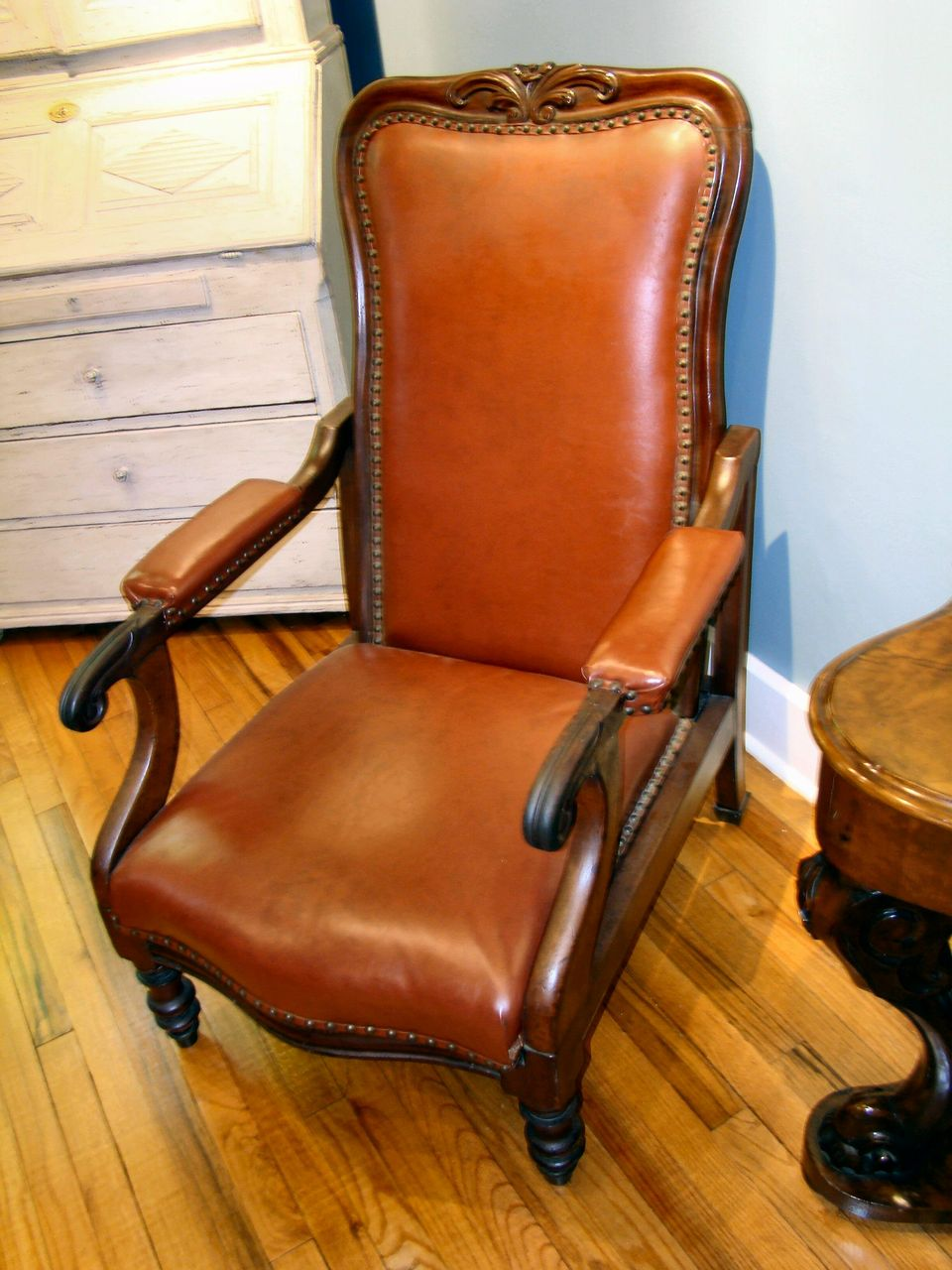 victorian office chair. Fine Leather Victorian Office Chair - Adjustable : Wayne Mattox Antiques | Ruby Lane