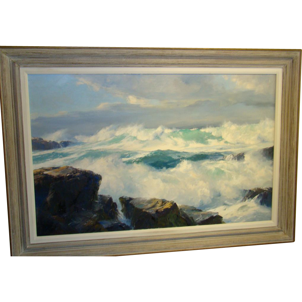 Large & Impressive California Coast Painting by Bennett Schroeder Bradbury (1914-1991)