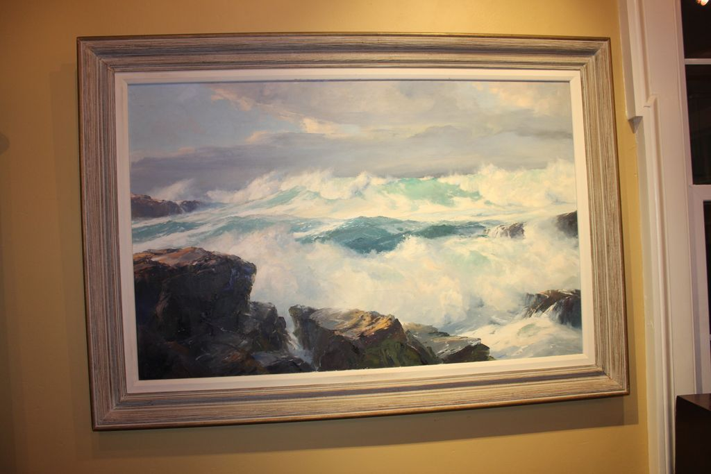 Large amp impressive california coast painting by bennett schroeder from