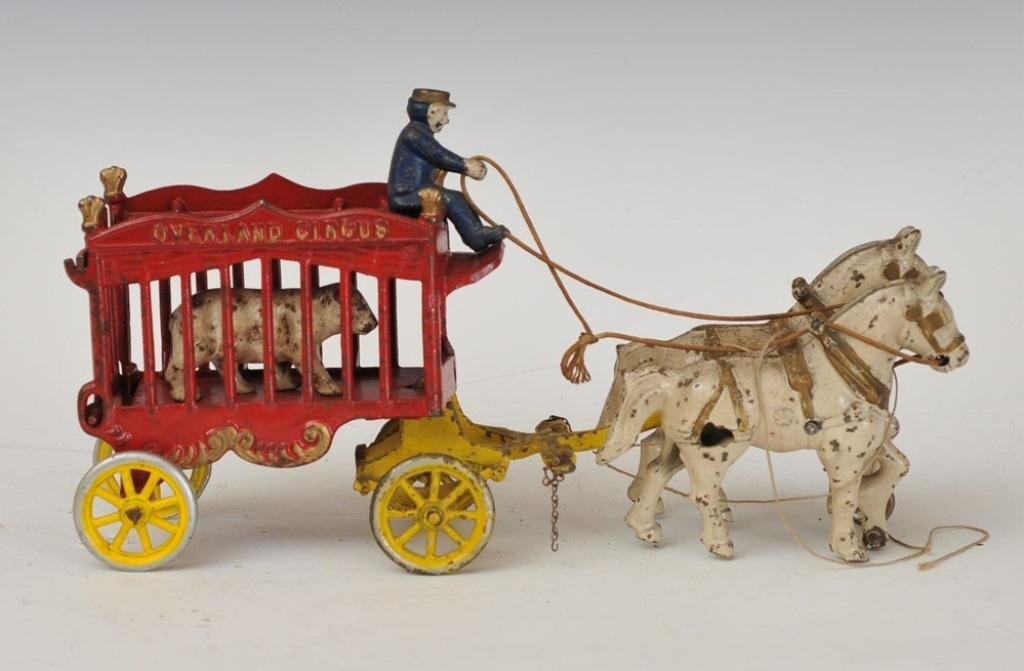 Early Cast Iron Toy Overland Circus Polar Bear Cage From