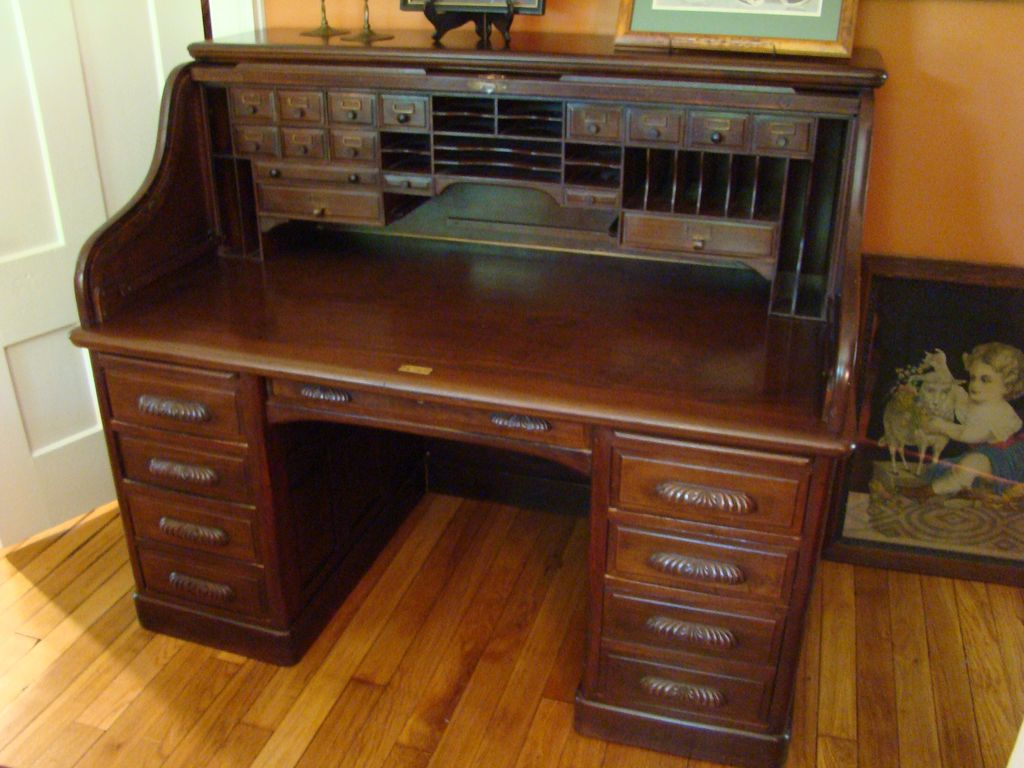 Roll over Large image to magnify, click Large image to zoom - Victorian  Black Walnut - Antique Roll Top Desks For Sale Antique Furniture