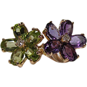 14K Gold, Amethyst, Peridot, and Diamond Ring