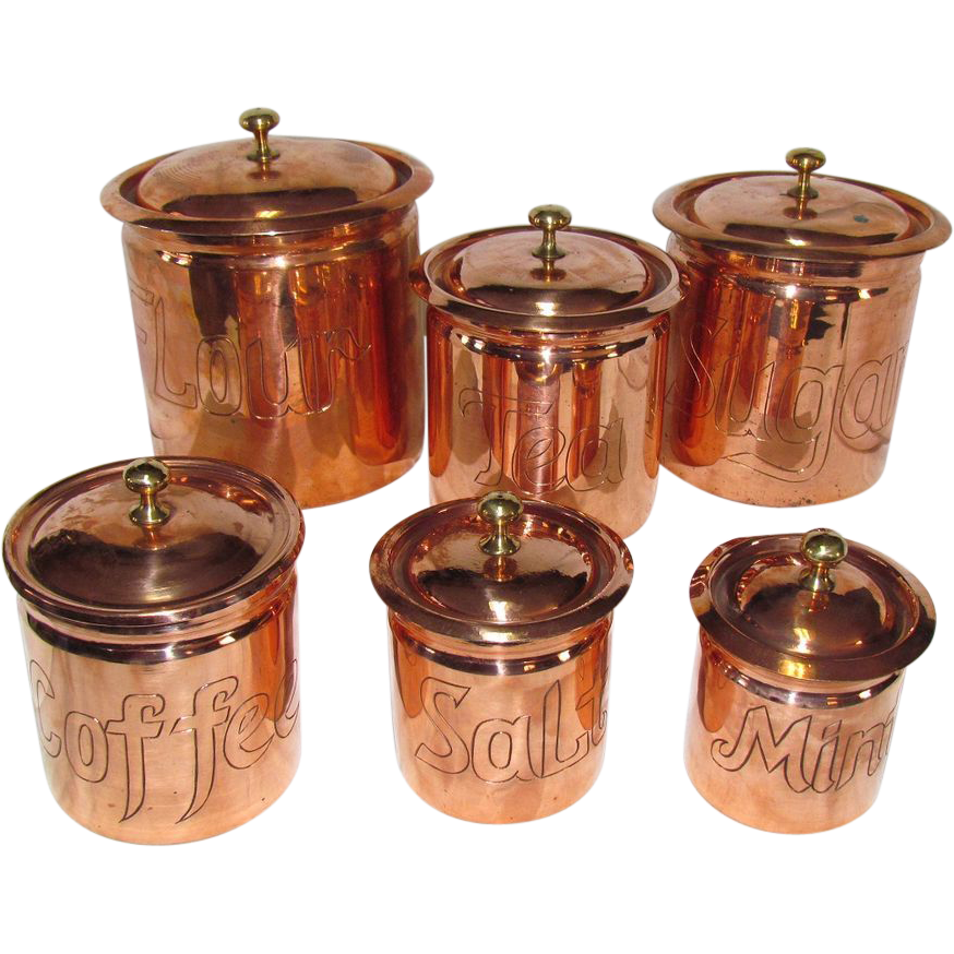 The best set of copper kitchen canisters i ve seen sold on for Best kitchen set