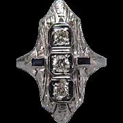 18K White Gold Art Deco Filigree Diamond & Sapphire Ring 1/3 ctw