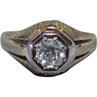 14K White & Yellow Gold 0.57ct Diamond Ring c1920