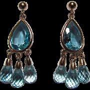 14K Gold and Blue Topaz Dangle Earrings