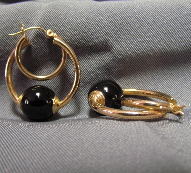14k gold and black onyx hoop earrings from