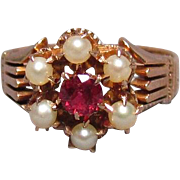 Antique Edwardian 10K Rose Gold Spinel & Pearl Crown Ring