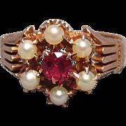 Antique Edwardian 10K Rose Gold Spinel & Pearl Crown Ring