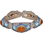 Qing or Republic Chinese Silver Enameled & Carnelian Cabochon Bracelet