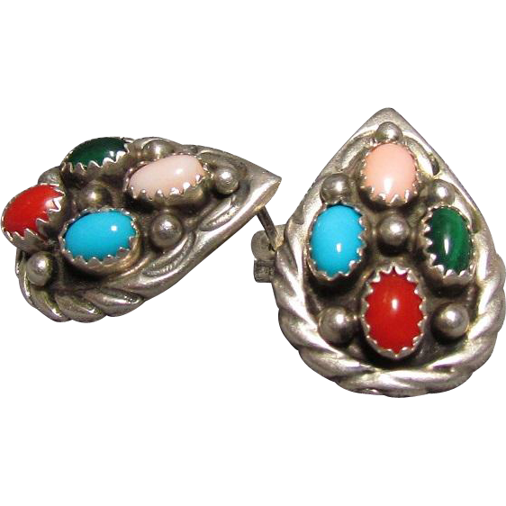 John Delvin Navajo Multi-Stone Sterling Earrings