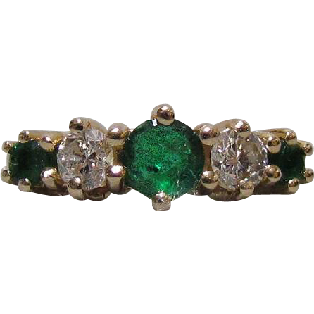 14K Gold Diamond & Emerald Ergonomic Band Ring