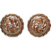 14K Rose Gold & Diamond Earrings