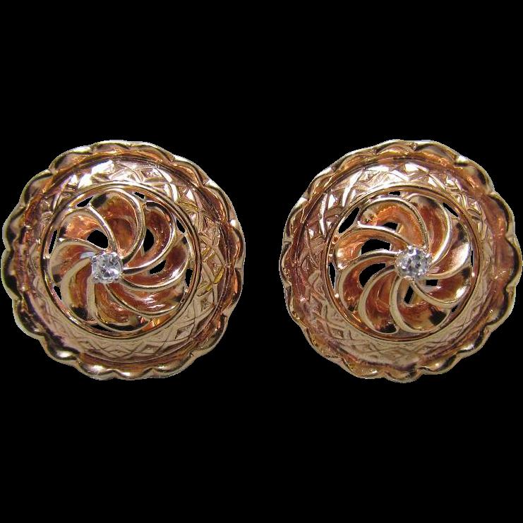 14K Rose Gold & Diamond Earrings